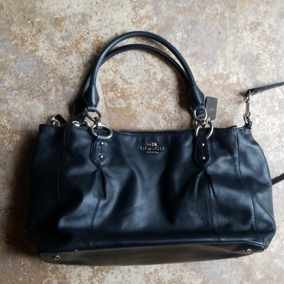 Coach Handbags - Coach Satchel Crossbody Black 3 Zipper Compartment
